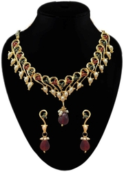 Best Austrian Stone Alloy Green & Maroon Necklace Set for women's