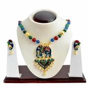 Kundan Meenakari Elephant Pendant Necklace from Sheorna